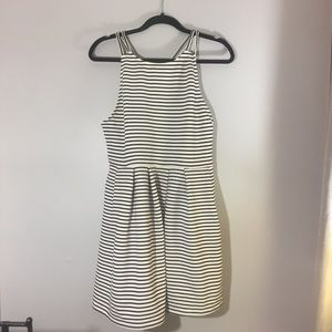 SO black and white striped sleeveless skater dress